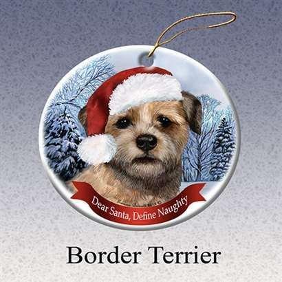 Terrier Dog Christmas Tree Ornament (Holiday Pet Gifts Border Terrier Santa Hat Dog Porcelain Christmas Tree Ornament )