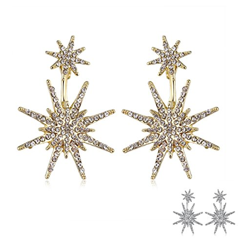 Star Stud Unique Costume Christmas Dangle Earrings for Women Wedding Ear Jacket Jewelry (Gold&Silver) H1254GS
