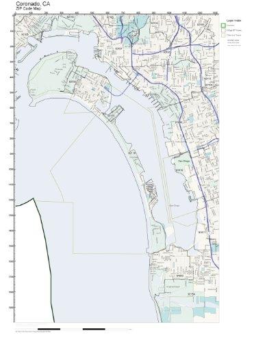 Amazon.com: ZIP Code Wall Map of Coronado, CA ZIP Code Map