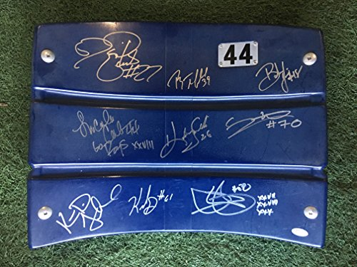 Dallas Cowboys Official Texas Stadium Seat Chair Back Signed by 2011 Neighbors Lincoln Coleman, Mario Edwards, Dixon Edwards, Kelvin Garmon, Ryan Neufeld, & (4) others (JSA COA))