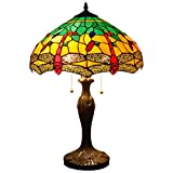 Tiffany Style Table Lamp Desk Beside Lamps 24 Inch Tall Blue Yellow Stained Glass Shade Crystal Bead Dragonfly 2 Light Antique Zinc Base for Living Room Bedroom Coffee Table S009G WERFACTORY