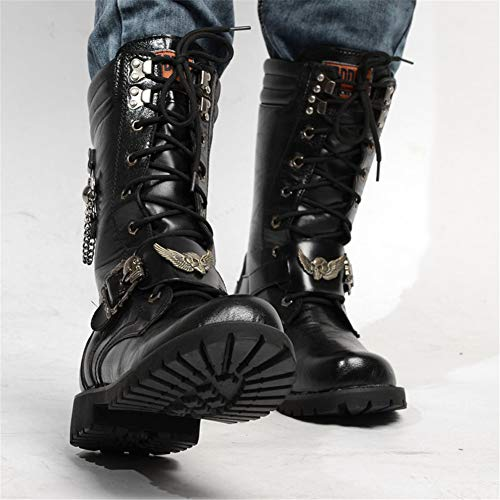 British Uniformi Da Steampunk Boot Moto Stivali Moto Impermeabile Gothic Punk Mens Western Leather Scarpe Fashion Cowboy Da Army Boot Genuine 45 Skull Martin Alto Stivali gR6xEfwxq
