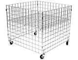 KC Store Fixtures 54101 Dump Bin, 36'' x 36'' x 30'' High Grid Panels with Casters, Chrome