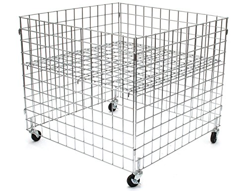KC Store Fixtures 54101 Dump Bin, 36'' x 36'' x 30'' High Grid Panels with Casters, Chrome by KCF
