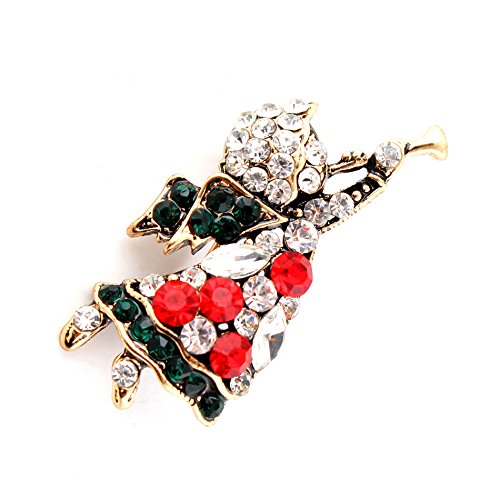 LYM Vintage Style Christmas Angel Rhinestone Crystal Gift Brooch PIN Clothes Decor