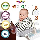 Baby Proofing Clear Corner Protectors Full Set with Bonus Socket Covers | Table Corner Guards and complimentary Plug Covers | Protection from Child Head Injuries | Sharp Edge Furniture