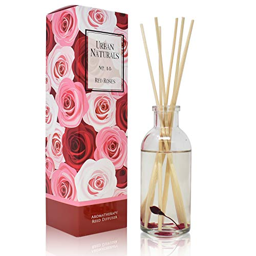 Urban Naturals Red Roses Reed Diffuser Oil Gift Set| Floral Scented Sticks Room Freshener for Bathroom, Kitchen & Bedroom | Great Idea (Reed Red Diffuser)