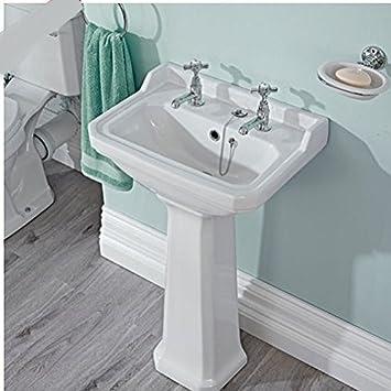 Traditionelle Weiss Badezimmer Wasserhahn Keramik Zwei Loch