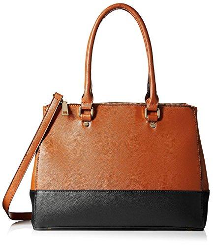SOCIETY NEW YORK Women's Satchel Bag, Cognac/Black