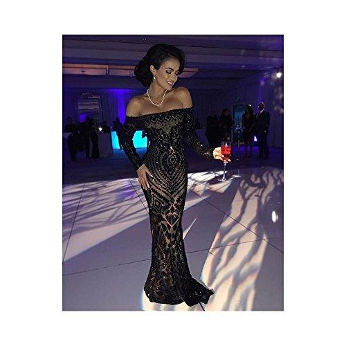 Nadine Merabi Arabella Embellished Long Sleeved Sequin Gown (US10 UK14, Black)