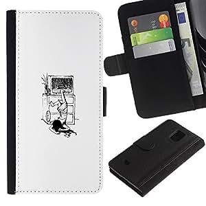 LECELL--Cuero de la tarjeta la carpeta del tirón Smartphone Slots Protección Holder For Samsung Galaxy S5 Mini, SM-G800 -- El Anillo Funny Girl --