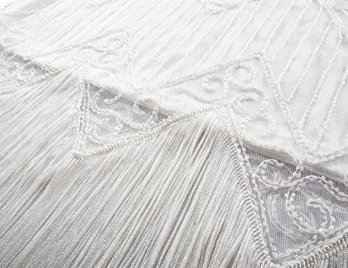 Bianco Deco Gatsby Da Abito Cocktail 1920 Pavone Paillettes Prettyguide Donne Flapper qcLRj35S4A