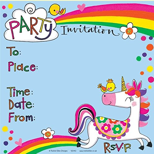 Children's Party Invitations - Unicorn and Rainbow - 8 Party Invites and Envelopes Rachel Ellen