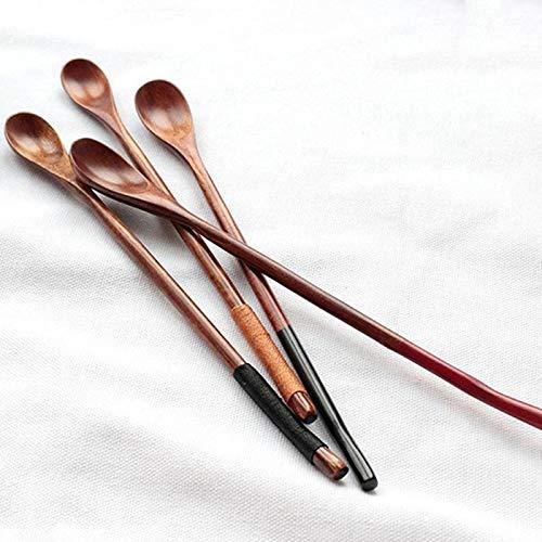 1PC Wooden Spoon Long Handled Honey Coffee Tea Spoon Teaspoon Tableware Natural Wood SpoonKids Rice Dessert Spoon