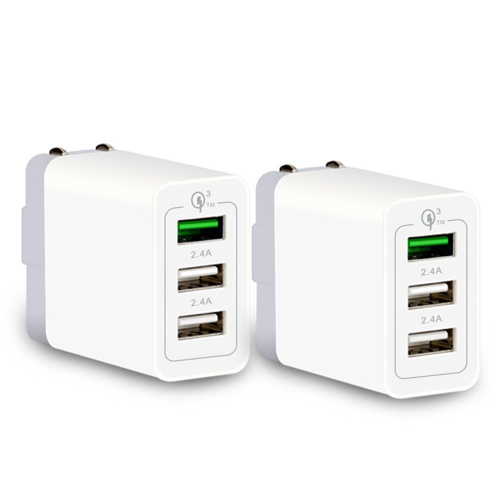 4 Port USB Wall Charger, Home Travel Universal Portable USB Charging Power Adapter 20W with Foldable Plug for iPhone X 8 6S 7Plus, iPad Air, LG G5 G6, Samsung Galaxy S9 S8 S8+,Nexus, HTC, Tablet and More (White) SCGK 540013WH-CA