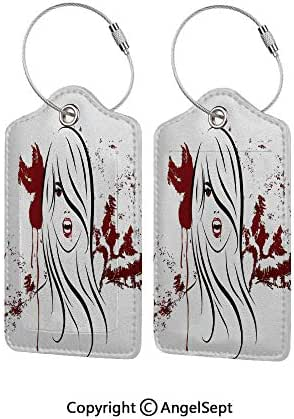 Personal Expression Luggage Tag Business Card Holder,Face of Sexy Vampire Lady with Long Hair Red Lips Blood Stain Dangerous Grunge Decorative 4 PCS Red Black White,With Lifetime Never Lost Guarantee
