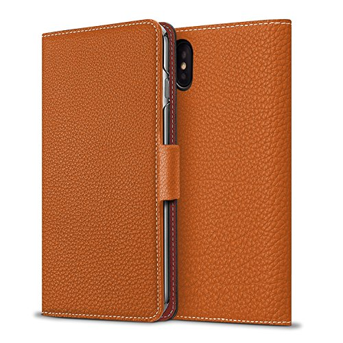 BONAVENTURA iPhone X Leather Wallet Case w/ Magnet Lock (European Full-Grain PERLINGER Leather) | Luxury Flip Cover Case w/ Magnet [iPhone X | (Orange Grain)