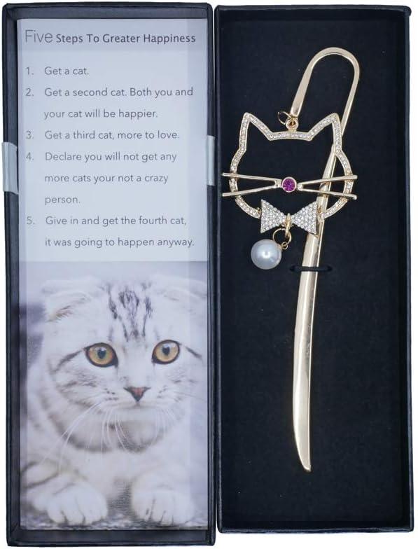 regalo di Natale oro Segnalibro in metallo per gli amanti dei gatti con ciondolo a forma di gatto con citazioni di gatto