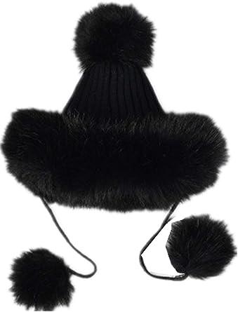 Faux Fox Fur Russian Cossack Fluffy Pom Pom Bomber Hats Earflap Female  Winter Snow Ski Caps Trapper Aviator Cap (Black) at Amazon Women's Clothing  store