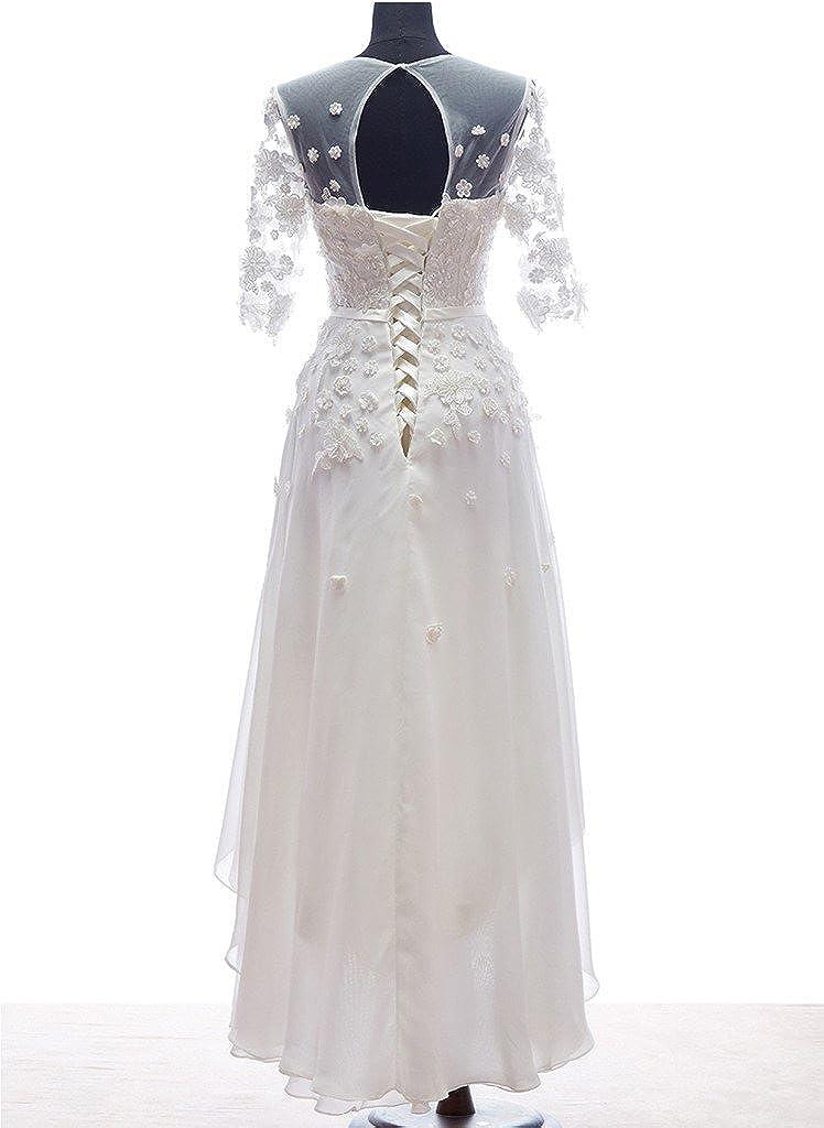 Snowskite Womens High-Low Chiffon Beach Wedding Evening Party Dress White 10