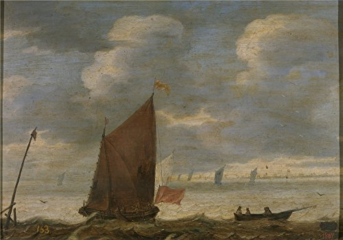 the-perfect-effect-canvas-of-oil-painting-anonymous-velero-y-barca-de-pescadores-frente-a-la-costa-1