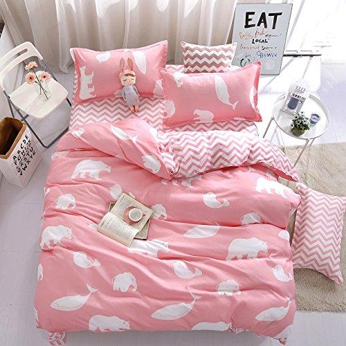 Bed Set Children Duvet Cover Set Flat Bed Sheet pillowcase No Comforter 3pcs SJD twin Full Queen Animal Cartoon Dolphin Bear Rabbit Designs for Kids Children (Polar Bear Dolphin, Pink, Twin, 59