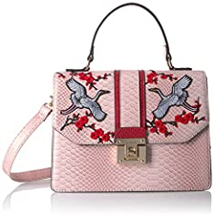 Structured top handle bag with birds and flower applique on flap