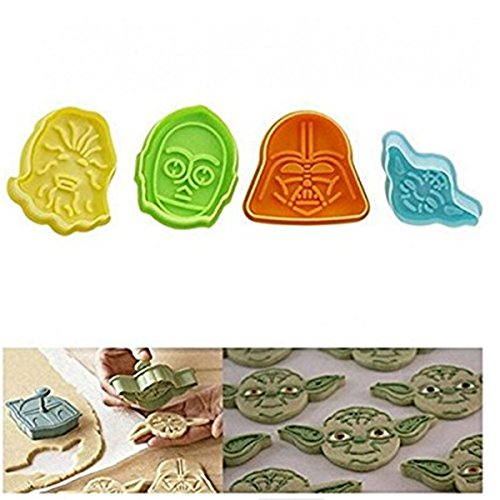 SONG LIN 4pcs Cookies Cutter Fondant Biscuit Mold Ilk DIY Cake Decorating Baking Tools, Color Random