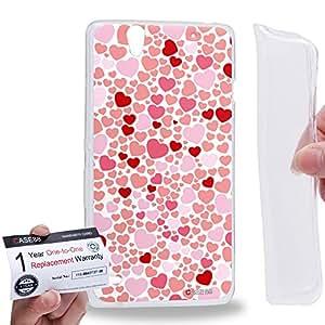 Case88 [Sony Xperia C4 / C4 Dual] Gel TPU Carcasa/Funda & Tarjeta de garantía - Art Design Pink And White Sweet Heart Typography