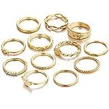 Min 10Pcs Bohemian Vintage Crystal Knuckle Joint Nail Ring Set Sun Moon Ring Set Finger Rings (Gold Set(12Pcs))