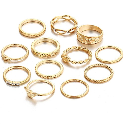 Min 10Pcs Bohemian Vintage Crystal Knuckle Joint Nail Ring Set Sun Moon Ring Set Finger Rings (Gold Set(12Pcs)) by Min