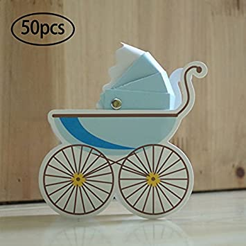 50 cajas de regalo para cochecito de bebé, regalo para bautizo, baby shower, fiesta, regalos 8cm*3cm*9cm azul
