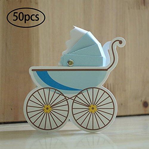 oobest 50Pcs Landau Poussette Dragées Boîtes Cadeau Candy Supports pour Baptême Baby Shower Fête d'anniversaire
