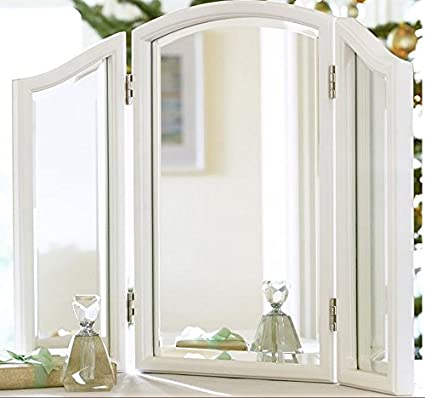 dutchess makeup design vanities with vanity traditional fold mirror home tri bedroom product and stool