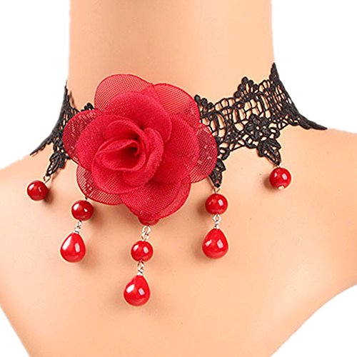 Meiysh Victorian Cameo Beads Tassels Red Rose Flower Lace Gothic Lolita Beads Pendant Choker Necklace