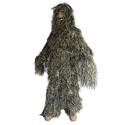 Ghillie Suit, LOOGU Camo Suit Woodland and Forest Design Military Leaf Hunting and Shooting Accessories Tactical Camouflage Clothing Blind for Airsoft, Wildlife Photography Halloween or Party