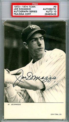 Joe-DiMaggio-Signed-1973-1974-TCMA-Card-9-New-York-Yankees-Gem-Mint-10-PSADNA-Authentication-Baseball-Collectible