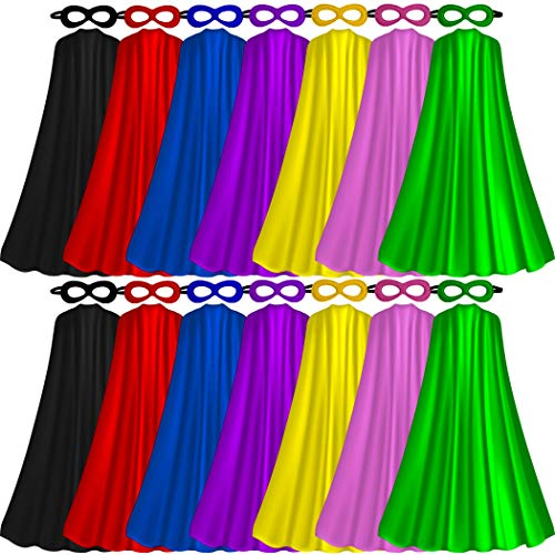 Superhero-Capes for Adults with Masks Bulk, Women Men Super-Hero Themed Birthday Party Dress Up Costume (14 - Wear Heroes Capes
