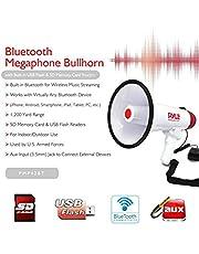 Nuevo 2015!!!! MEGÁFONO Profesional PYLE PMP42BT Blanco Y Rojo DE 40 Watt MAX con FUNCIÓN DE Alarma OÍBLE hasta A. 900 Metros con Entrada USB SD Card Jack 3,5 MM AUX Y TECNOLOGÍA Bluetooth Integrado