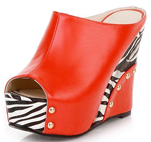 IDIFU Women's Trendy Zebra Extreme High Wedge Slip On Sandals Peep Toe (Platform 8 Mule)
