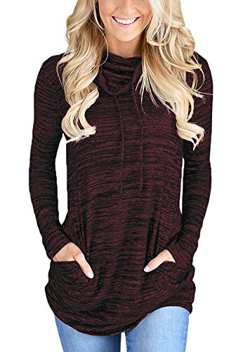 Chvity Women's Long Sleeve Hooded Cowl Neck Solid Sweatshirts with Pocket Drawstring (Heather Burgundy, L)