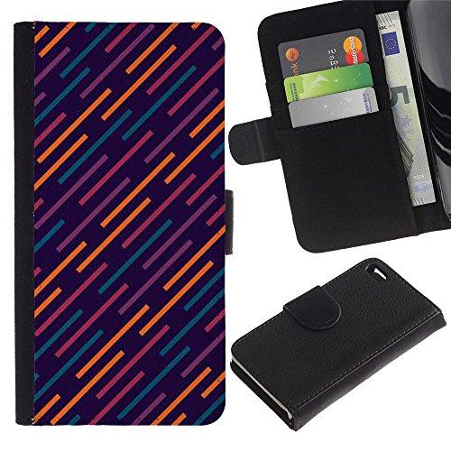 LASTONE PHONE CASE / Luxe Cuir Portefeuille Housse Fente pour Carte Coque Flip Étui de Protection pour Apple Iphone 4 / 4S / futuristic lights blue pattern orange