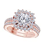 1.50 Ct Cushion & Cut White CZ Diamond Unique 14k Rose Gold Plated Starburst Design Wedding Engagement Ring Halo Bridal Sets Size 4.5-12