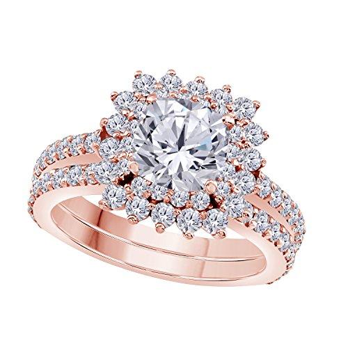 1.50 Ct Cushion & Cut White CZ Diamond Unique 14k Rose Gold Plated Starburst Design Wedding Engagement Ring Halo Bridal Sets Size 4.5-12