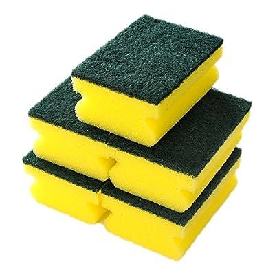 Sponge Scouring Pads - 5pcs - Pack of Yellow & Green Colour - Dishwashing Sponges Universal Sponge Brush Set Kitchen Cleaning Tools Helper