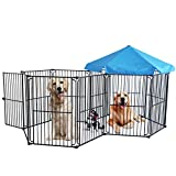 LEMKA Heavy Duty Pet Playpen Dog Kennels, Pet Dog Exercise Playpen Pet Playyard Kennel Foldable Steel Crate Wire Metal Cage 10 Panels with Canopy – 60 inches Review