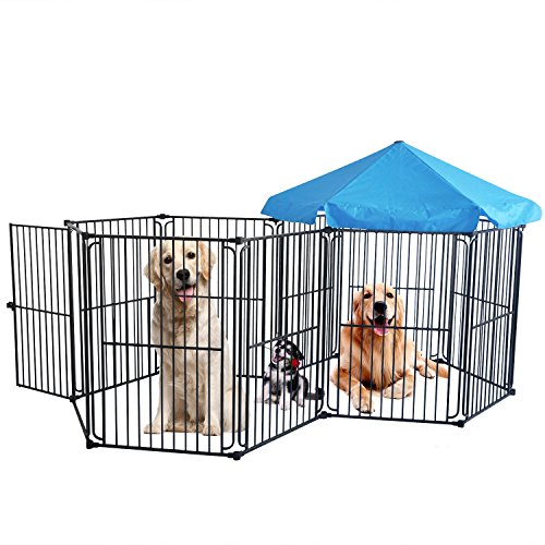 LEMKA Heavy Duty Pet Playpen Dog Kennels, Pet Dog Exercise Playpen Pet Playyard Kennel Foldable Steel Crate Wire Metal Cage 10 Panels with Canopy - 60 inches