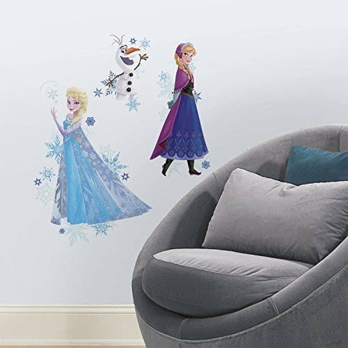 RoomMates Disney Frozen Anna, Elsa, and Olaf Peel and Stick Giant Wall Decals]()