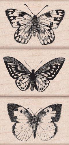 Hero Arts Woodblock Stamp, Set Three Artistic Butterflies