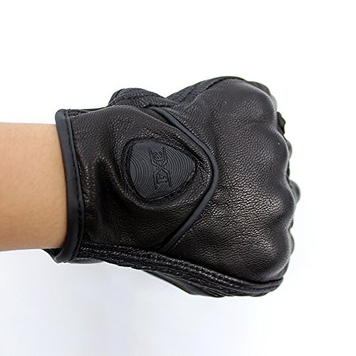 FXC Full Finger Motorcycle Leather Gloves Men's Premium Protective Motorbike Gloves (M, Solid)